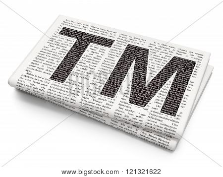 Law concept: Trademark on Newspaper background
