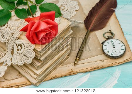 Old Love Letters, Lace And Red Rose Flower