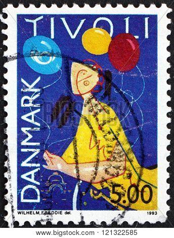 DENMARK - CIRCA 1993: a stamp printed in Denmark dedicated to Tivoli Gardens 150th Anniversary circa 1993