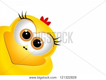 Easter card design template. Funny yellow chicken. Card for East