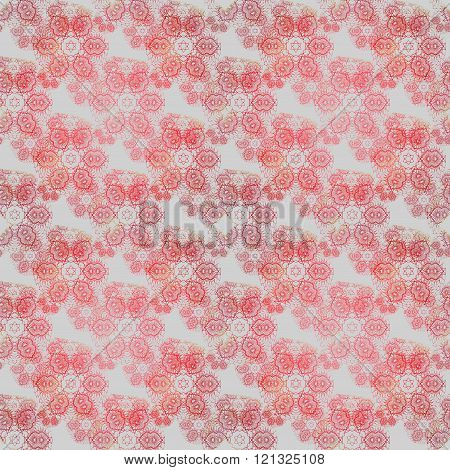 Seamless floral pattern red gray