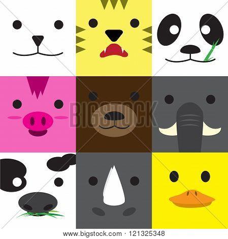 Set of cute animal faces cartoon in nine block pattern