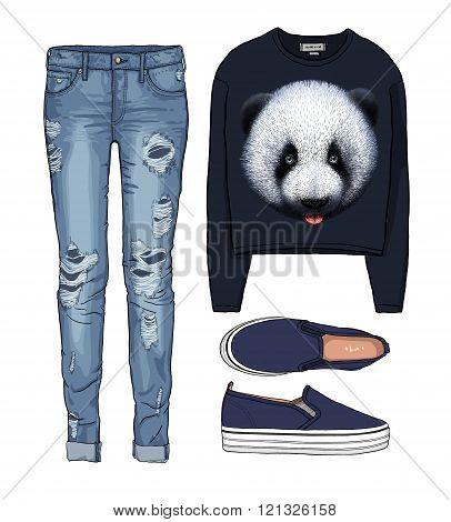 Lady fashion set of autumn, winter season outfit. Illustration stylish and trendy clothing. Denim, s