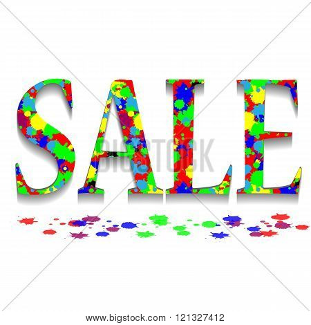 Sale Color Splashes Banner On Back Background. Abstract Sale Background. Big Sale. Sale Tag. Sale Po