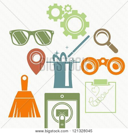 Vector background with a composition: the magic cylinder, binoculars, magnifying glass, brush, goggl
