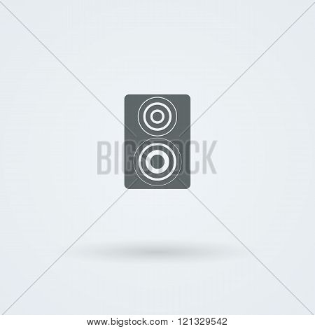 Vector icon of minimalist music speakers.