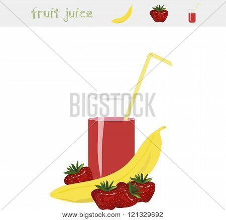 Banner Fruit juice. A glass of juice, yellow straw, banan,  red strawberry on white background