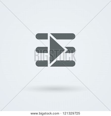 Simple, minimalist start button on the symbol indicates text.