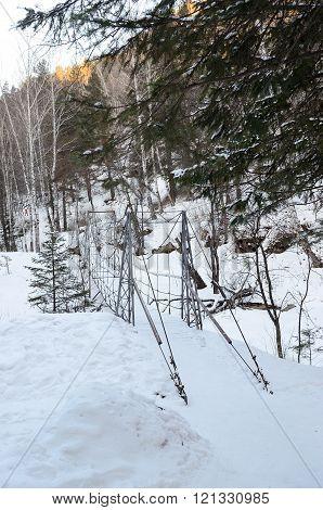 Bridge over the frozen creek