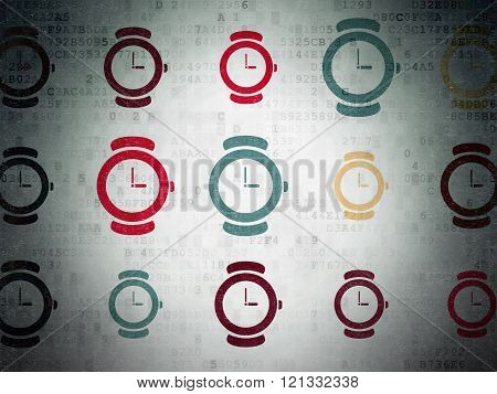 Time concept: Watch icons on Digital Paper background