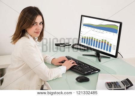 Businesswoman Analyzing Financial Graphs