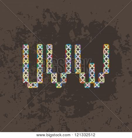 Set of four colorful knitted, embroidered or macrame capital letters of the Latin alphabet. U, V and