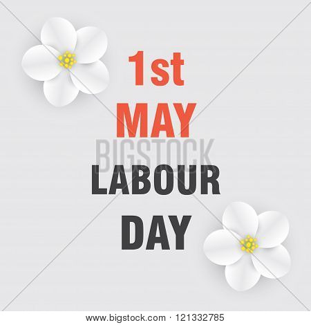 1st of May. Labour and Spring Day. Bright background with flowers of apple.
