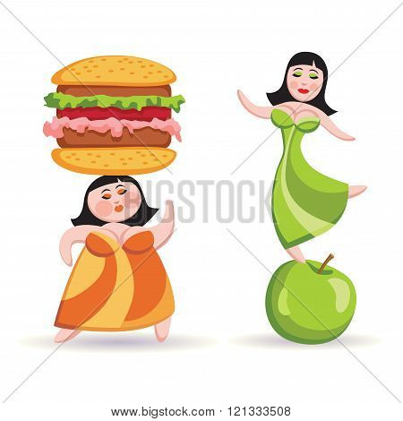Nutrition Choice And Diet. Fat Woman Holding A Hamburger On His Head, Slender Woman Is Standing On T