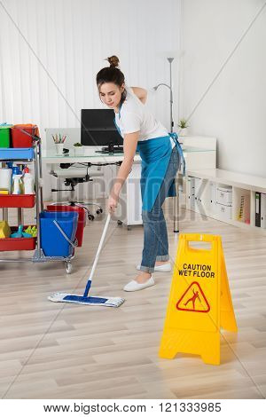 Female Janitor Mopping Wooden Floor