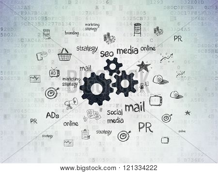 Marketing concept: Gears on Digital Paper background