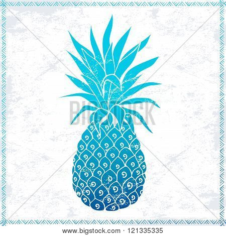 Vector Vintage pink pineapple