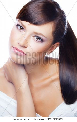 Bright portrait of young beautiful woman isolated on white