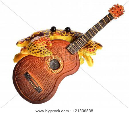yellow cute toy crab plaing guitar isolated on white