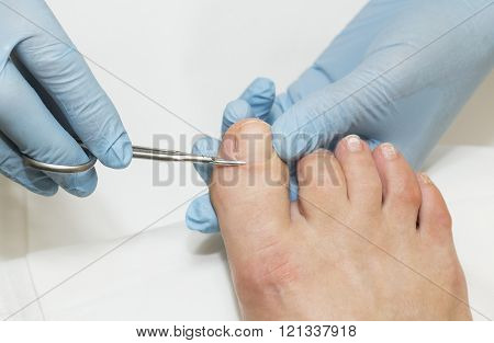 process of pedicure at beauty salon spa