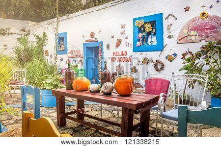 KOS, GREECE - SEPTEMBER 25, 2015: Beautifuly decorated greek house at Kos island