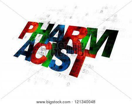 Medicine concept: Pharmacist on Digital background