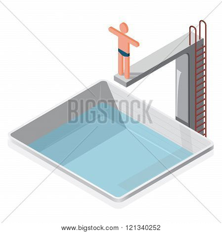 Swimming pool isometric. Sportsman in trunks prepares to water jumping.