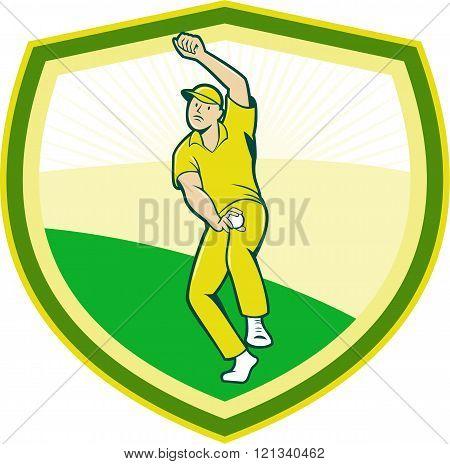 Cricket Player Bowling Crest Cartoon