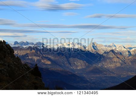 Winter panorama from Monte Grappa, Italy.  Mountain landscape