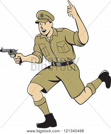 World War One British Officer Running Pistol Cartoon