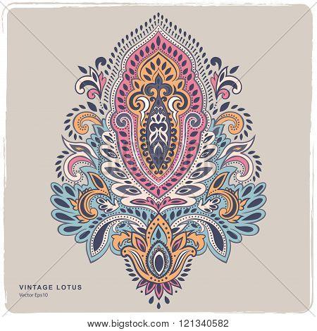 Beautiful Indian floral paisley ornament. Ethnic Lotus. Henna ta
