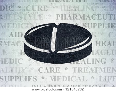 Health concept: Pill on Digital Paper background
