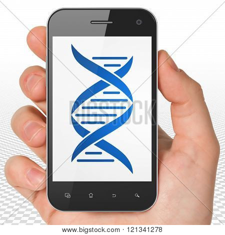 Health concept: Hand Holding Smartphone with DNA on display