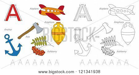 Tracing Worksheet for children. Full english alphabet from A to Z pictures for letter A