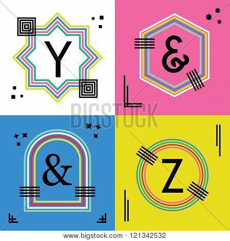 Colorful line capital letters Y, Z, and ampersand symbols emblem icons set