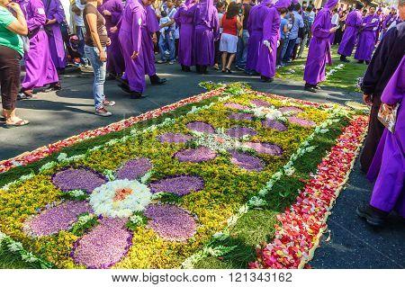 Lent Flower Carpet & Cucuruchos, Antigua, Guatemala