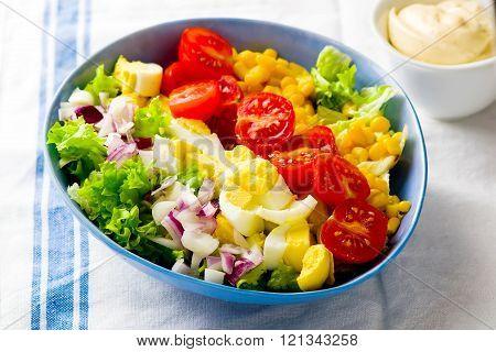vegetarian Cobb Salad with corn