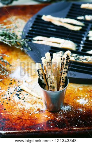 breadsticks with herbs and seeds