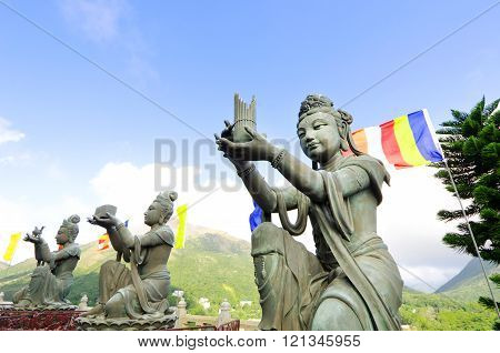 Buddhist statues at Po Lin Monastery, Lantau Island, Hong Kong