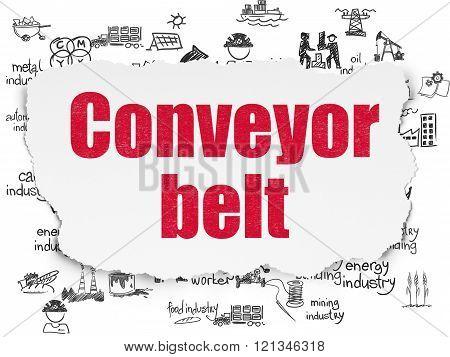 Industry concept: Conveyor Belt on Torn Paper background
