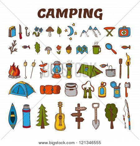 Hand drawn camping icon set in color. Collection of camping and hiking equipment symbols. Vector illustration