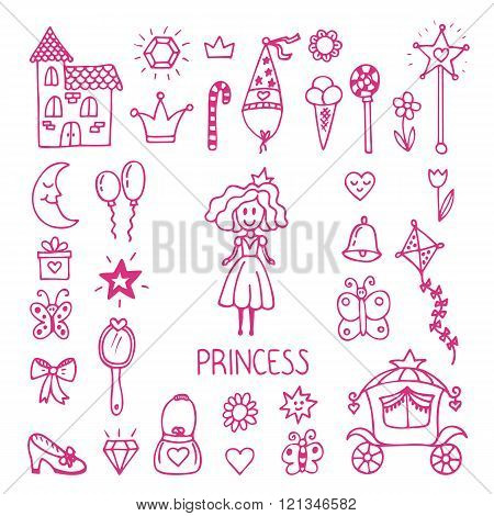 Hand Drawn Design Elements Of Little Princess. Sketchy Fairy Tale Princess