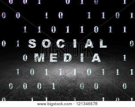 Social media concept: Social Media in grunge dark room