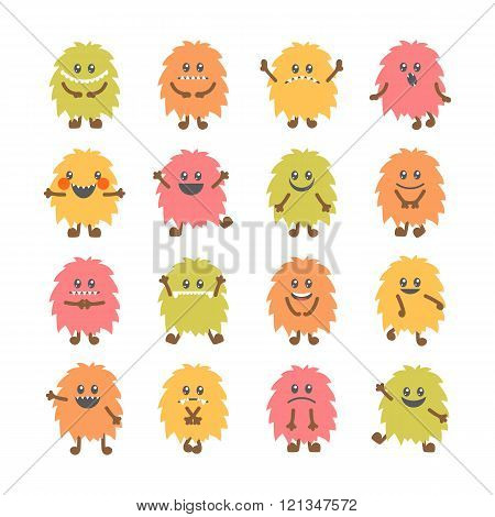Set Of Cartoon Funny Smiley Monsters. Collection Of Different Cute Fluffy Monsters Characters