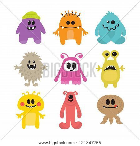 Set Of Cartoon Funny Smiley Monsters. Collection Of Different Monsters Characters
