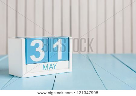May 31st. Image of may 31 wooden color calendar on white background.  Last spring day, Spring end. E