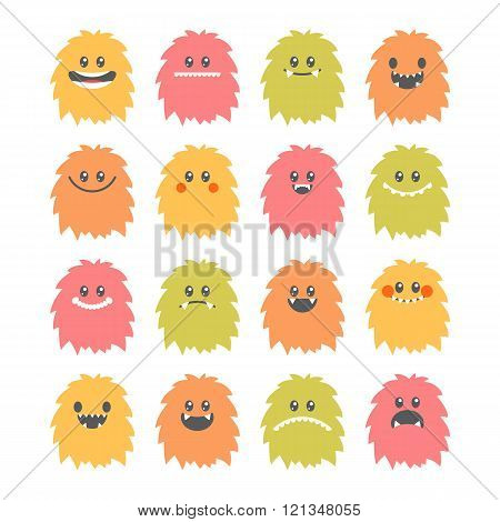 Set of cartoon smiley monsters. Collection of different cute and funny fluffy monsters characters. Vector illustration