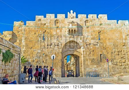 JERUSALEM ISRAEL - FEBRUARY 16 2016: The Lions' Gate is the start point of the Via Dolorosa the last walk of Jesus from prison to crucifixion on February 16 in Jerusalem.