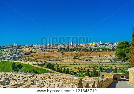 The view from the Mount of Olives on the Temple Mount with the city walls Dome of the Rock and old Jerusalem Israel.