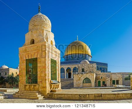 The Dome of the Rock and Sabil Qaitbay are famous as two most scenic buildings on the Temple Mount, Jerusalem, Israel.